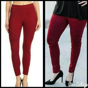 Jewely's Justifiables Pants - Cranberry Moto Jeggings
